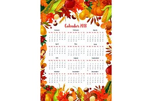 Autumn harvest 2018 calendar vector template