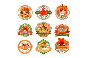 Autumn label set of fall season and sale template