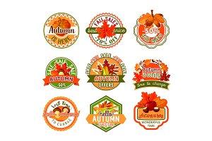 Autumn label set of fall season and sale template