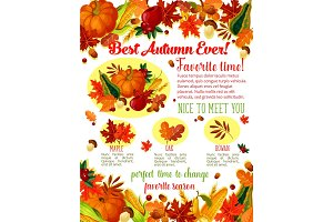 Autumn lovely fall time wishes vector poster