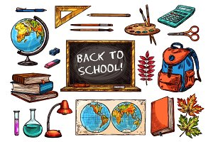 School and education supplies sketch icon set