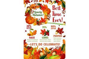 Autumn season sale promotion poster template