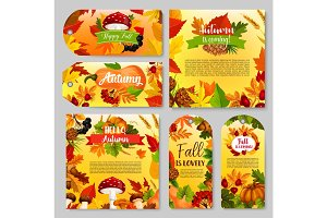 Autumn holiday gift tag, Thanksgiving poster set