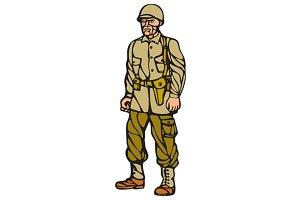 World War Two Soldier Standing Linoc