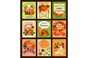 Autumn leaf and fall harvest retro poster set