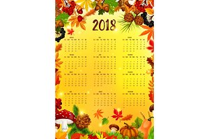 2018 Calendar template with autumn leaf frame