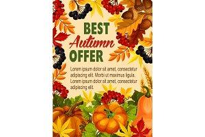 Autumn sale farm market vector discount poster