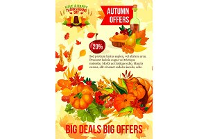 Thanksgiving sale banner of autumn discount offer