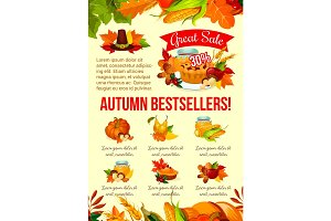 Autumn sale banner of Thanksgiving discount offer