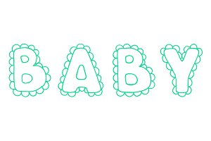Baby lace word lettering vector