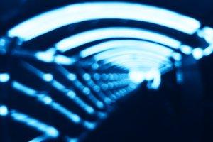 Futuristic blue corridor bokeh background