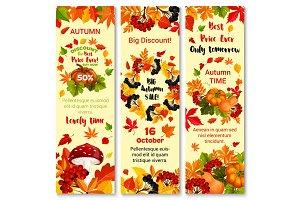 Autumn sale discount vector fall banners set