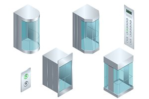 Isometric vector Glass futuristic cylindrical shape elevator or lift isometric interior with contemporary style lift hall.