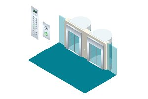 Isometric vector elevator lift isometric interior with contemporary style lift hall.
