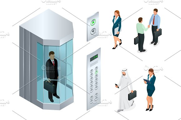 Isometric Vector Design Of The Elevator With People Inside And Button Panel Realistic Empty Elevator Hall Interior With Close Metallic Lift Doors