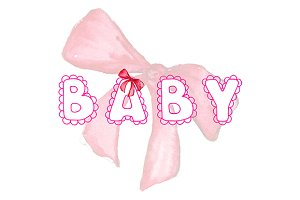 Pink baby lace word lettering bow