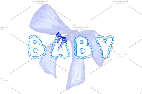 Blue Baby Lace Word Lettering Bow