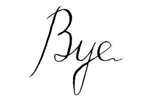 Bye word lettering italic vector