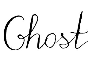 Ghost word lettering italic vector