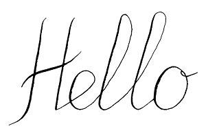 Hello word lettering italic vector