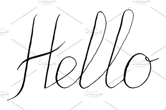 Hello Word Lettering Italic Vector