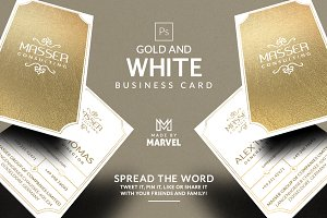 Gold And White Business Card
