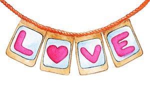 Love letter flag heart rope vector