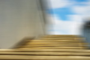 Horizontal motion blur stairs with sky background