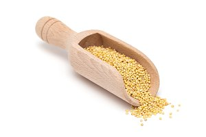 Organic millet groats in a wooden scoop, side view, isolated