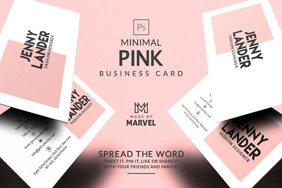 Minimal pink business card business card templates creative market minimal pink business card business cards wajeb Choice Image