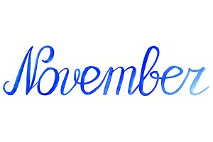 Watercolor november month word