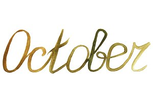 Watercolor october month word