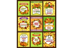 Autumn sale retro poster set with fall season leaf