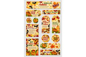 Autumn sale tag, discount offer label and card set