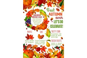 Autumn sale banner with fall season leaf frame