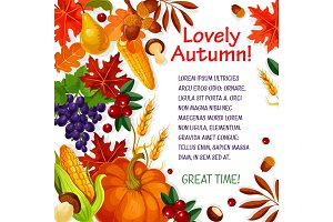 Autumn leaf, vegetable and fruit poster template