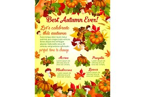Autumn harvest celebration banner template design