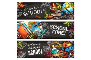 School supplies on chalkboard banner set design