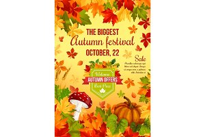 Autumn sale banner design of fall harvest holiday