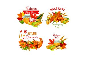 Autumn sale symbol set of Thanksgiving holiday