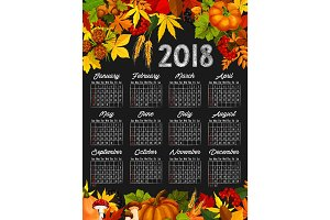 Autumn harvest calendar chalkboard template design