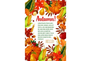 Hello Autumn poster with fall season leaf frame