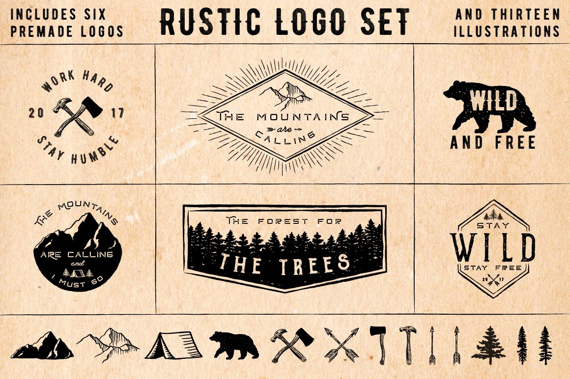 Rustic Logos & Illustrations AI PNG ~ Graphic Objects ...