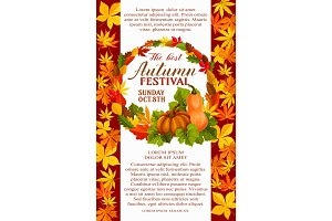 Fall festival poster of autumn vegetable and leaf