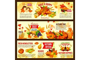 Autumn sale symbol set of Thanksgiving Day holiday