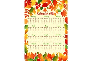 Autumn calendar template with fall leaf frame