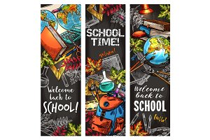 Back to school banner set for education design