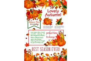 Autumn season leaf, fall harvest vegetable poster
