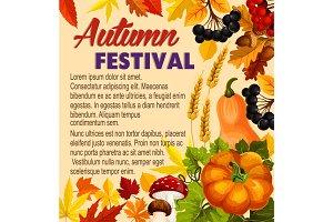 Autumn acorn leaf, pumpkin vector festival poster