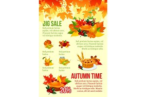 Autumn season big sale banner template design